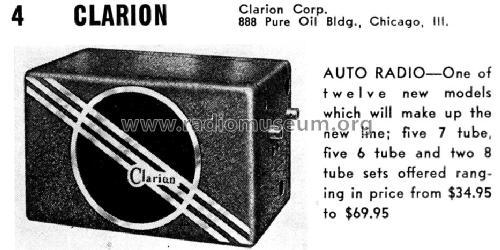 Clarion Auto Radio Car Radio Clarion Corporation; Chicago, b