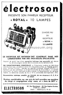 Royal Radio Électroson; Paris, build 1936/1937, 1 pictures,