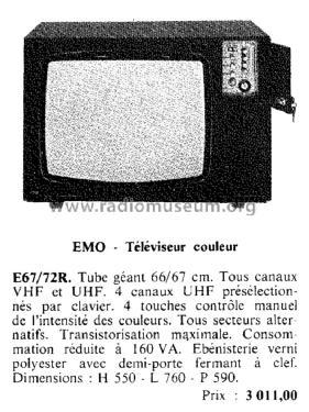 e67 72r television emo france