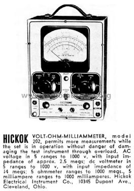 Volt-Ohm-Milliammeter 202 Equipment Hickok Electrical