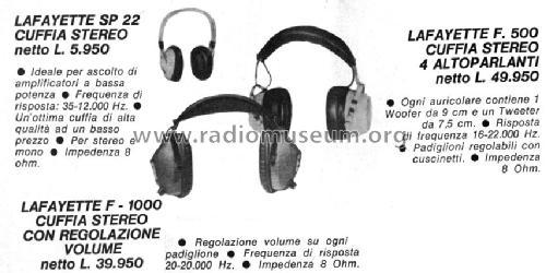 Headphones F-1000 Speaker-P Lafayette Radio & TV Corp; New Y