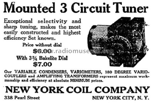 Mounted 3 Circuit Tuner mod-pre26 New York Coil Co. Inc.; Ne