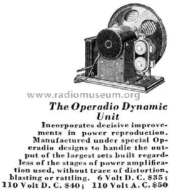 Dynamic Speaker Unit Speaker-P Operadio Corp.; St. Charles I