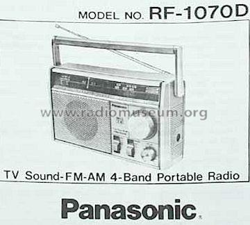 RF-1070D Radio Panasonic, Matsushita, National ナショナル also tu