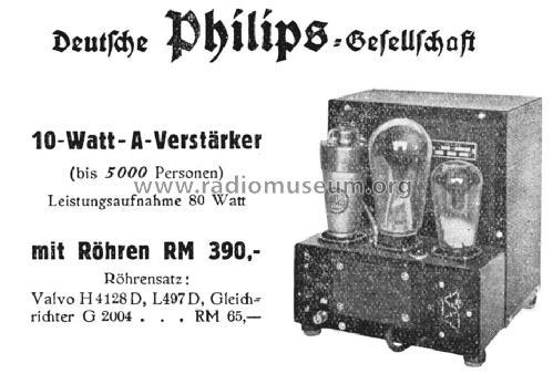 10-Watt-A-Verstärker 3726 Ampl/Mixer Philips Radios