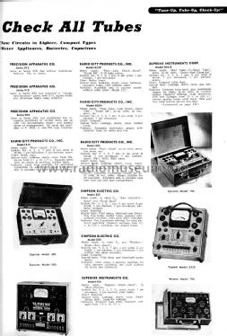 315 Tube Tester Equipment Radio City Products Company, Inc.R