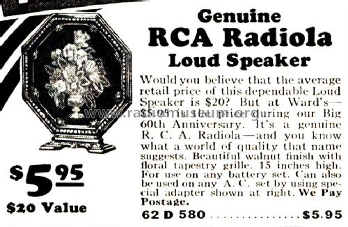 Radiola Loudspeaker 580 Order= 62 D 580 Speaker-P RCA RCA Vi