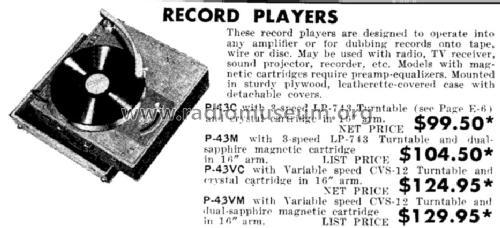 Record Player P-43M R-Player Rek-O-Kut company; New York, NY
