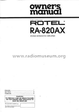 Stereo Integrated Amplifier RA-820AX Ampl/Mixer Rotel, The,