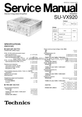 Stereo Integrated Amplifier SU-VX920 Ampl/Mixer Technics bra