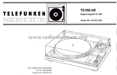 TS 950 HiFi R-Player Telefunken Deutschland TFK, Gesellschaf
