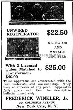 1-tube Regenerative Receiver Kit Winkler, Frederick,