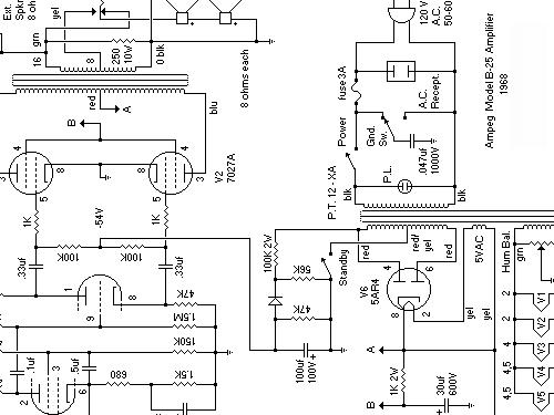 B-25 Ampl/Mixer Ampeg Portaflex, build 1968, 1 schematics, 6