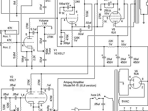 M-15 Ampl/Mixer Ampeg Portaflex, build 1959 ??, 1 schematics
