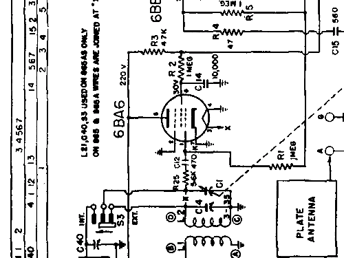 865 Radio Philips Canada, build 1950 ??, 2 schematics, 6 tub
