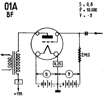 01A, Tube 01A; Röhre 01A ID3654, Triode, vacuum