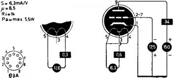 12B4A, Tube 12B4A; Röhre 12B4A ID5301, Triode, vacuum
