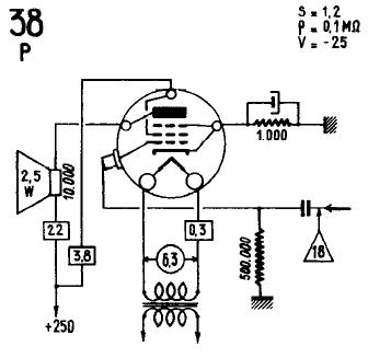 38, Tube 38; Röhre 38 ID3111, Vacuum Pentode