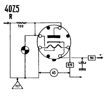 40Z5, Tube 40Z5; Röhre 40Z5 ID7386, High-vacuum Rectifier