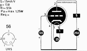 56, Tube 56; Röhre 56 ID2680, Triode, vacuum