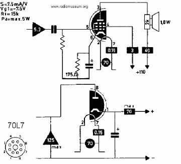 70L7GT, Tube 70L7GT; Röhre 70L7GT ID3146, HalfWave Rectifier