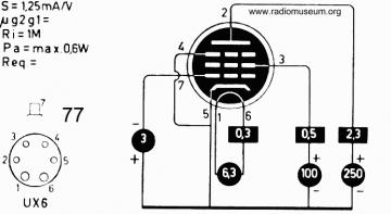 77, Tube 77; Röhre 77 ID2733, Vacuum Pentode
