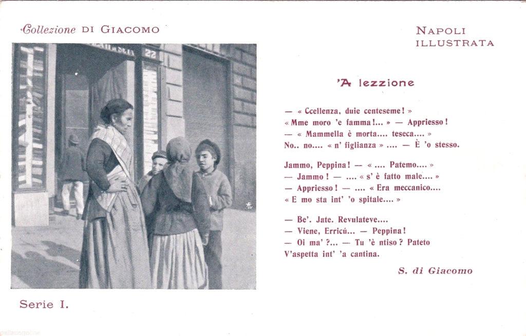 Cartolina 'A lezzione Salvatore di Giacomo