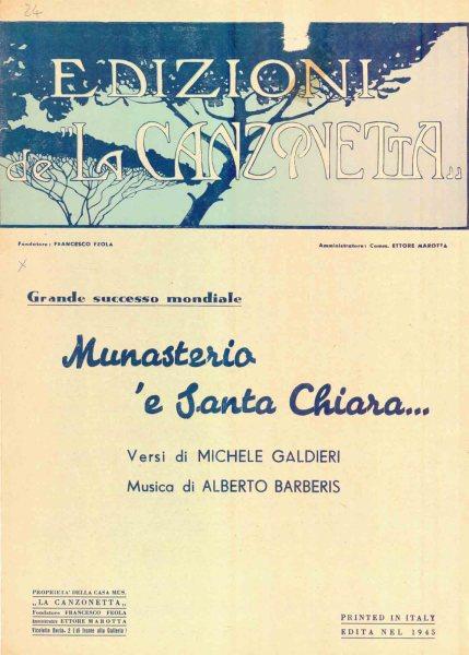 Spartito di Munasterio e Santa Chiara