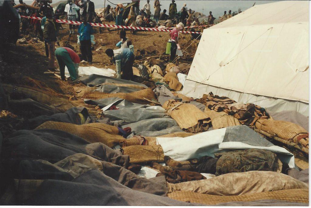 Corpses awaiting mass burial