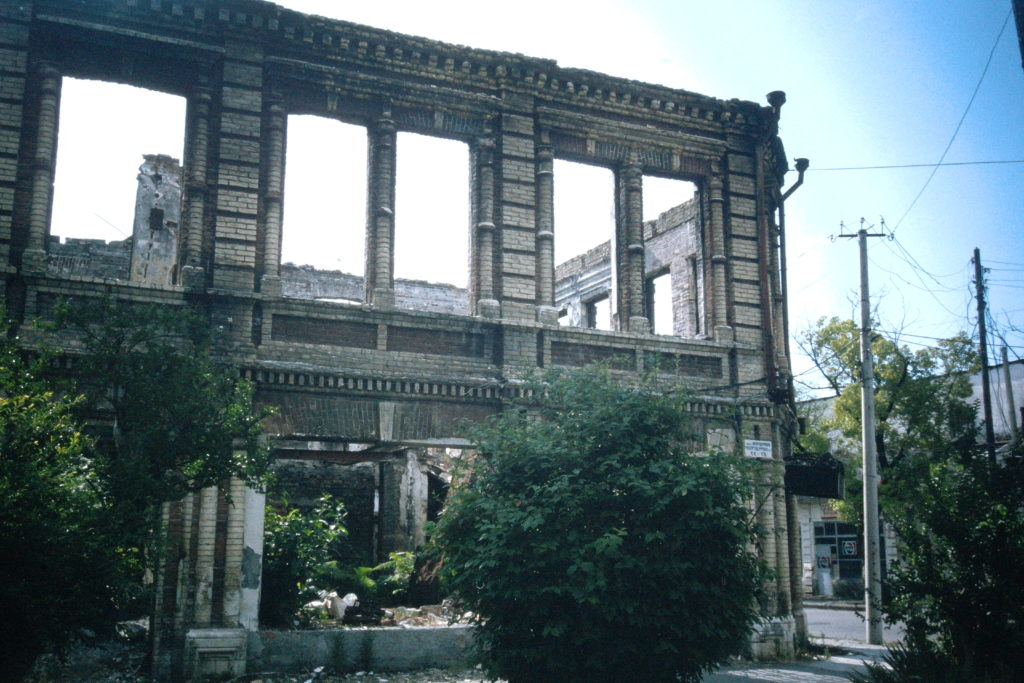 Destroyed building in the Abkhaz capital, Sukhumi
