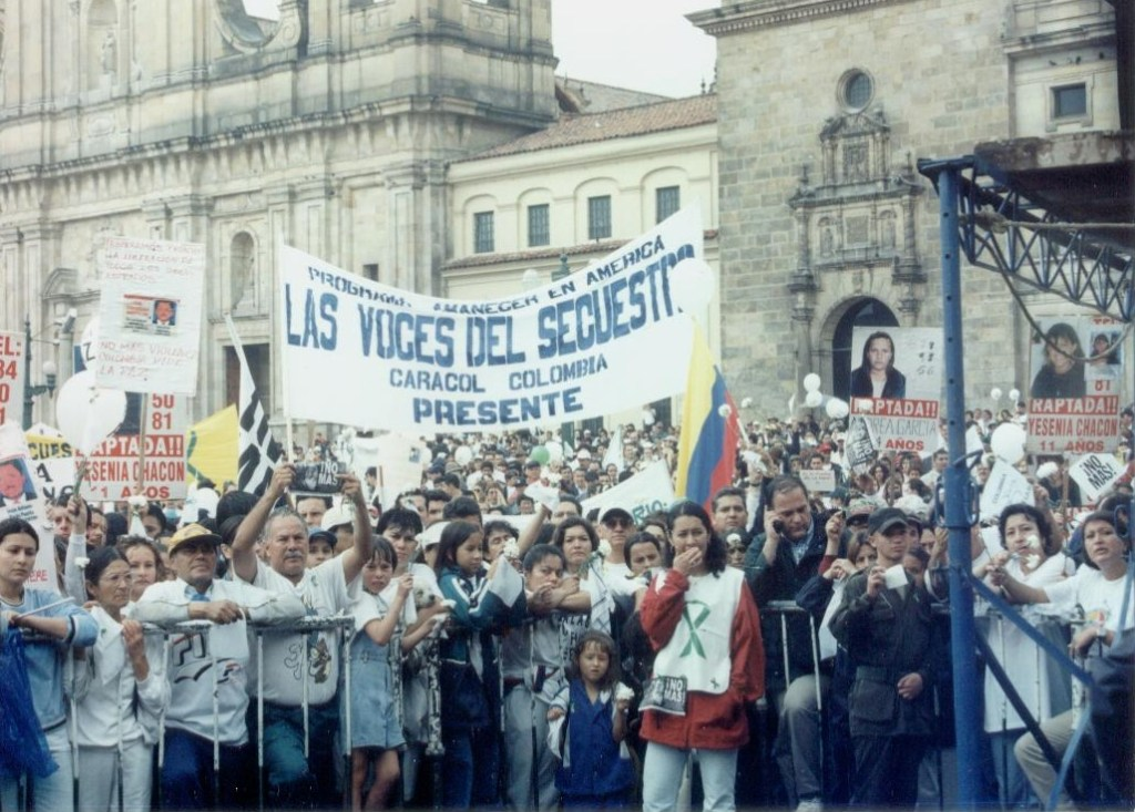 Demonstration for the release of people who had been kidnapped in Colombia