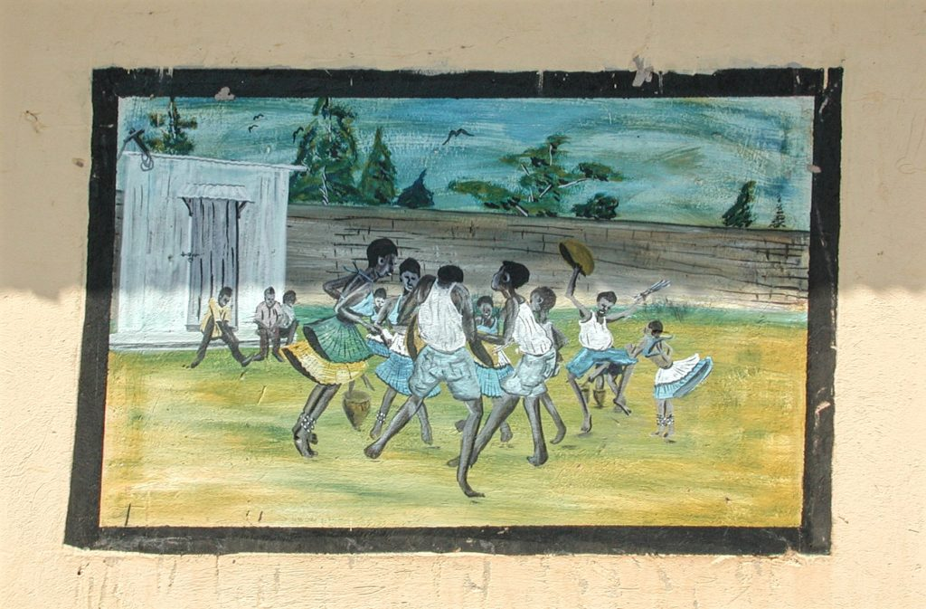 Painting representing children who managed to escape from the Lord's Resistance Army