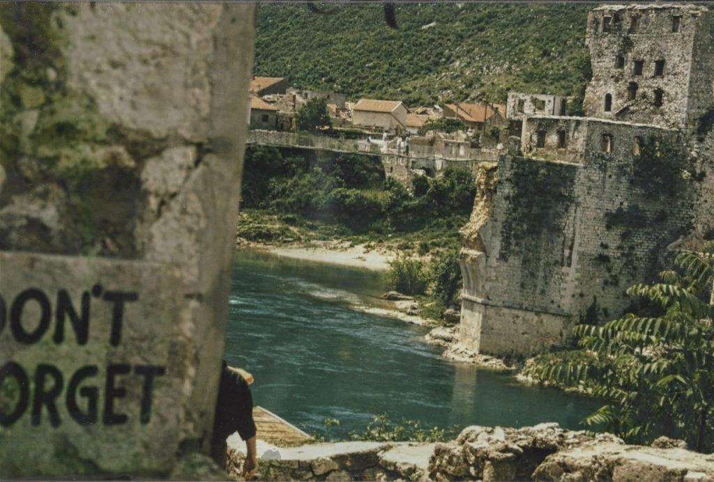 Stari Most (Old Bridge) in Mostar in Bosnia Herzogovina was destroyed during the war