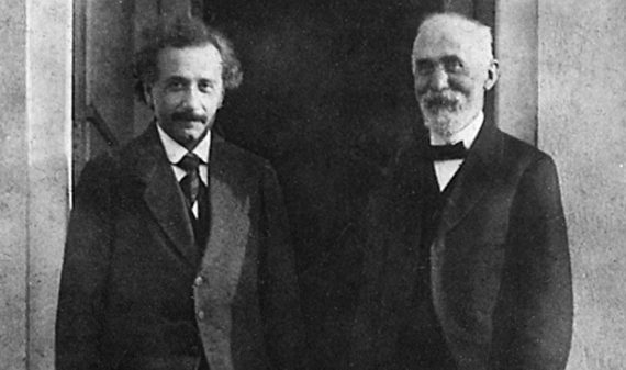 Albert Einstein with Hendrik Antoon Lorentz in Leiden in 1921