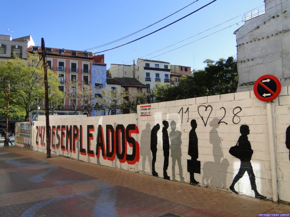 Graffiti about youth unemployment in Spain