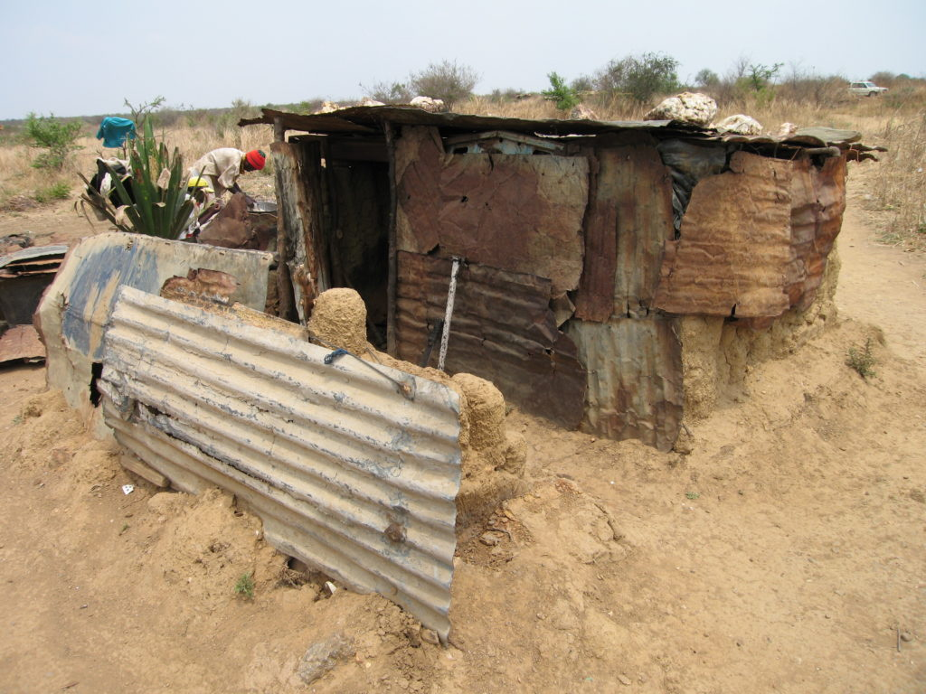 Hut built by a family evicted from their home