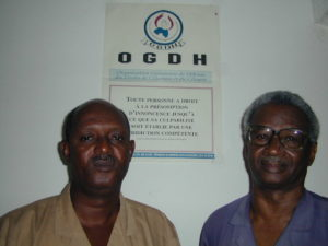 Thierno Maadjou Sow, president of the Guinean Organisation for the Defence of Human and Citizens' Rights (r) and Souleimane Bah of the OGDH (l)