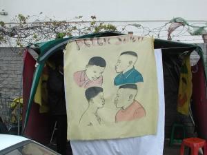 "Barber ""shop"" on a Durban street"