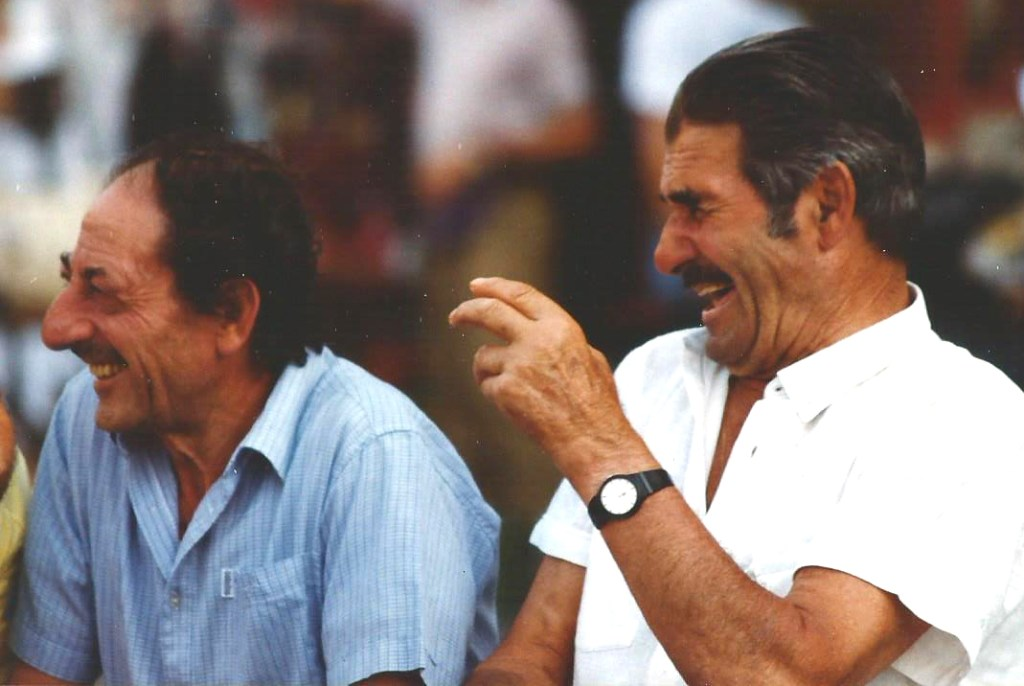 Italian friends having a good laugh in Florence in 1982