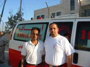 Ambulance paramedics Feras Samara (right) and his colleague Basem Sadaka
