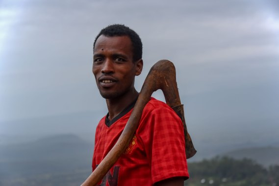 African farmer with a hoe