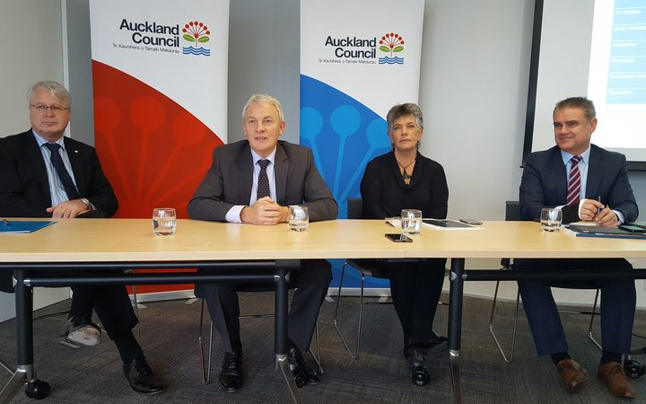 (from left) Martin Smith from Watercare, Mayor Phil Goff, Councillor Penny Hulse and Council chief operating officer Dean Kimpton at today's announcement of the plans.