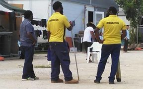 Personnel from the PNG immigration department inside the detention centre.