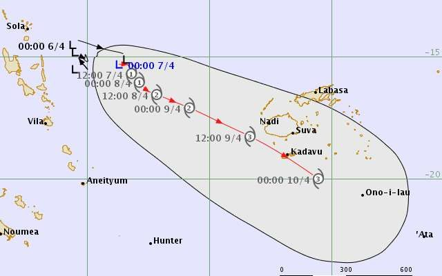 A forecast of the track Cyclone Kala would take over the weekend. It could be a category three at its closest point to Fiji.