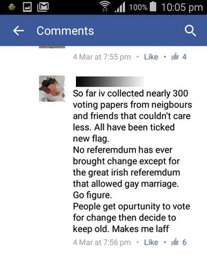 The man said he had collected the voting papers from people 'who couldn't care less'.