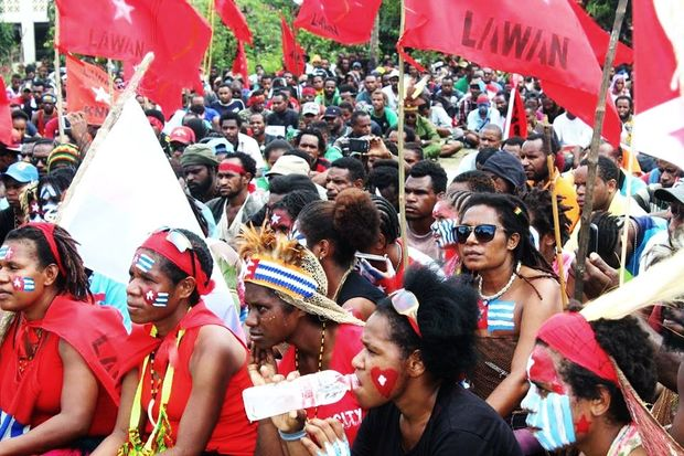 West Papuans demonstrate support for the United Liberation Movement for West Papua's bid to be a full member of the Melanesian Spearhead Group.