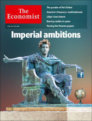 Picture of The Economist magazine cover, which casts Facebook's founder as a Roman emperor.