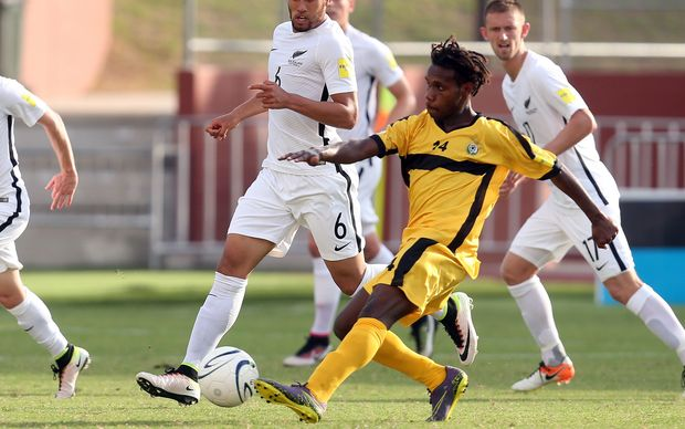 Vanuatu's Bong Kalo plays against New Zealand during the OFC Nations Cup.