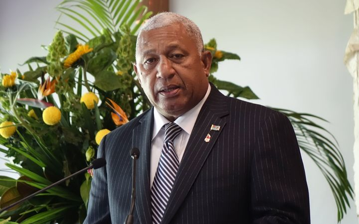 The Fiji Prime Minister Frank Bainimarama at Government House in Auckland