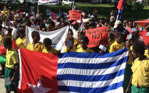 Ni-Vanuatu march in support of West Papuan self-determination aspirations.